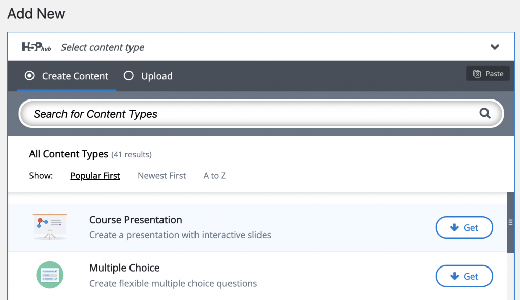 After clicking Add New, click Create Content to select a Content Type and begin authoring.